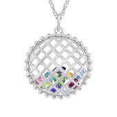Round Caged Birthstone Necklace