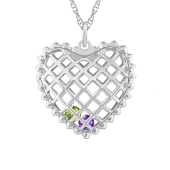 CAGED HEART BIRTHSTONE NECKLACE