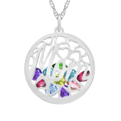 Mom Round Cage Birthstone Necklace