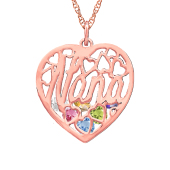 Nana  Heart Cage Birthstone Necklace