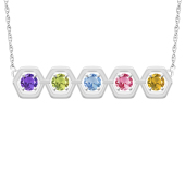 GEOMETRIC HEXAGON BIRTHSTONE NECKLACE