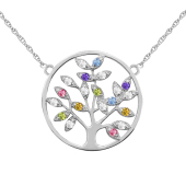 Mini Family Tree of Life Birthstone Necklace