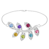 "FAMILY TREE BRANCH BIRTHSTONE BRACELET (7"")"