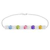 "ACCENTED BIRTHSTONE BAR BRACELET (7"")"