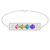 "HEART EMBRACED BIRTHSTONE BRACELET (7"")"