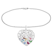 Family Tree Heart Cage Charm Bracelet