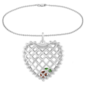 Caged Heart Birthstone Charm Bracelet