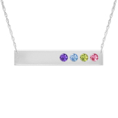 Horizontal Birthstone Bar Necklace