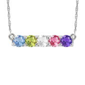 ROUND BIRTHSTONE BAR NECKLACE