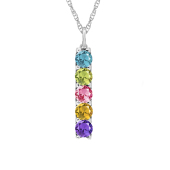 Vertical Round Birthstone Necklace