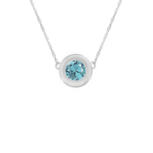 Round Bezel Birthstone Necklace