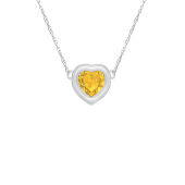 Heart Bezel Birthstone Necklace