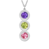 Round Bezel Vertical Birthstone Necklace
