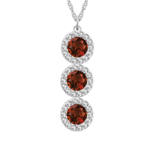 Round Birthstone Vertical Halo Necklace