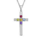 CROSS BIRTHSTONE NECKLACE (SMALL)