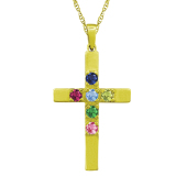CROSS BIRTHSTONE NECKLACE (LARGE)