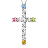 BRILLIANT CROSS BIRTHSTONE NECKLACE