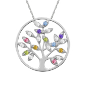 ROUND TREE OF LIFE BIRTHSTONE NECKLACE