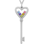 FLOATING BIRTHSTONES KEY NECKLACE