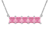 HORIZONTAL SQUARE BIRTHSTONE NECKLACE