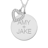 ROUND TAG AND HEART CHARM NECKLACE