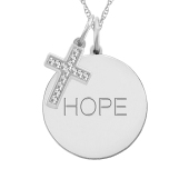 ROUND TAG AND CROSS CHARM NECKLACE