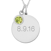 ROUND TAG BEZEL BIRTHSTONE NECKLACE
