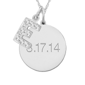 ROUND TAG AND INITIAL CHARM NECKLACE
