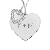 HEART TAG AND HEART CHARM NECKLACE