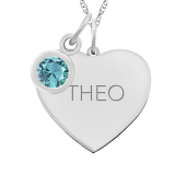 HEART TAG BEZEL BIRTHSTONE NECKLACE