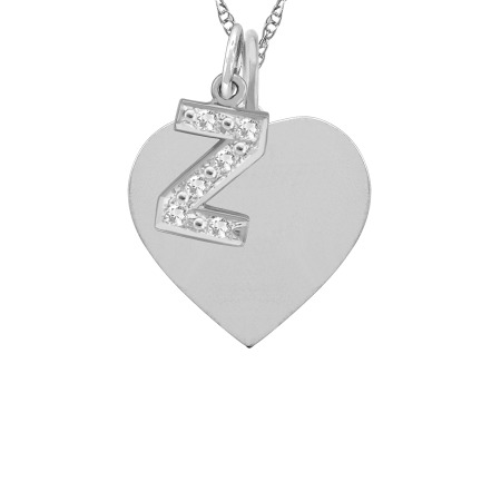 Z heart tag and initial charm pendant designs by m heart tag and initial charm necklace aloadofball Images