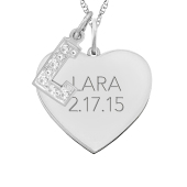 HEART TAG AND INITIAL CHARM NECKLACE
