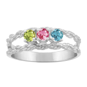 BRAIDED ROPE ROUND BIRTHSTONE RING