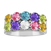 ROUND DOUBLE BIRTHSTONE RING
