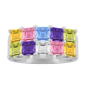 SQUARE DOUBLE BIRTHSTONE RING