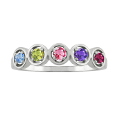 EMBRACED CIRCLE BIRTHSTONE RING