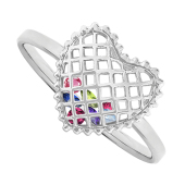 Caged Heart Birthstone Ring