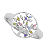 Mini Family Tree of Life Birthstone Ring