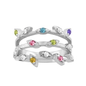 BUDDING LEAVES BIRTHSTONE RING