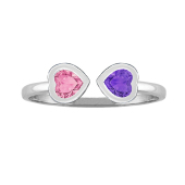 Two Hearts Bezel Ring
