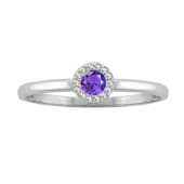 Round Halo Birthstone Ring