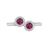 Round Halo Birthstone Bypass Ring