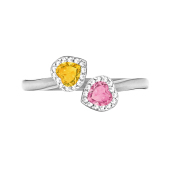 Heart Halo Birthstone Bypass Ring