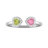 Two Hearts Halo Ring