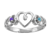 HEARTS DIAMOND ACCENTED RING