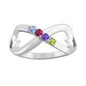 HEART INFINITY BIRTHSTONE RING
