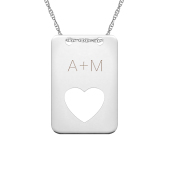 Engravable Tag with Cutout Heart Necklace